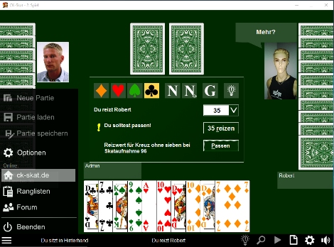Screenshot vom Programm: CK-Skat
